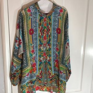 Johnny Was tunic blouse  silk long sleeves